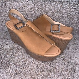 Marc Fisher Leather Open Toe Tan Wedges